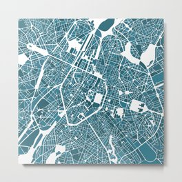 Brussels City Map I Metal Print