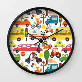 Busy City Zoo Animal Transportation Pattern Wall Clock