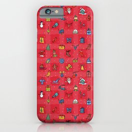Whimsy Christmas icons in Red2 iPhone Case