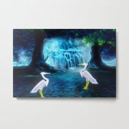 Great Egret Falls Abstract Metal Print