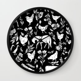 Modern Folk Art Horse Pattern with Botanicals and Chickens Wall Clock
