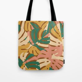 Monstera Leaves - Gold - Green - Pink Tote Bag