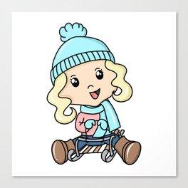 Girl Sledding On The Snow Canvas Print