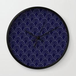 Japanese Sashiko Wave Pattern Wall Clock