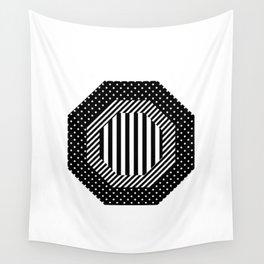 Geometric - Hexagon, Black Mixed Pattern 2 Wall Tapestry