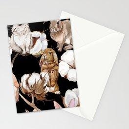 Cotton Flower & Rabbit Pattern on Black 01 Stationery Cards