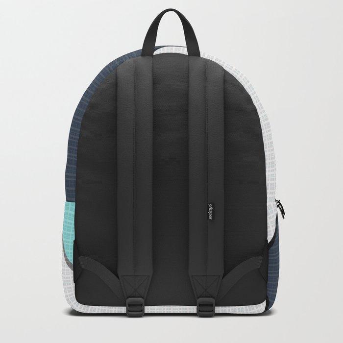 Grey-blue-black pattern . Abstraction . Patchwork . Backpack