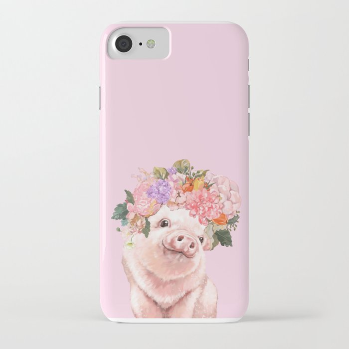 baby pig with flowers crown iphone case