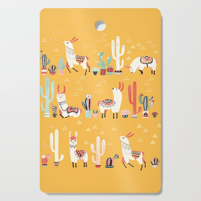 Happy llama with cactus in a pot Cutting Board