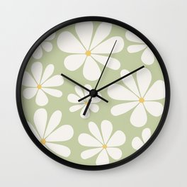 Floral Daisy Pattern - Green Wall Clock