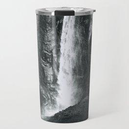 Bridalveil Falls. Yosemite California in Black and White Travel Mug