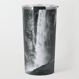 Bridalveil Falls. Yosemite California in Black and White Travel Mug
