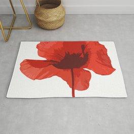 One Red Poppy White Background #decor #society6 #buyart Rug