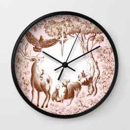 Twinkle star in the pink forest Wall Clock