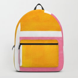 Pastel Yellow Pink Rothko Minimalist Mid Century Abstract Color Field Squares Backpack