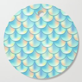 Teal Green Mermaid Pattern, Holographic Fish Scale Print Cutting Board