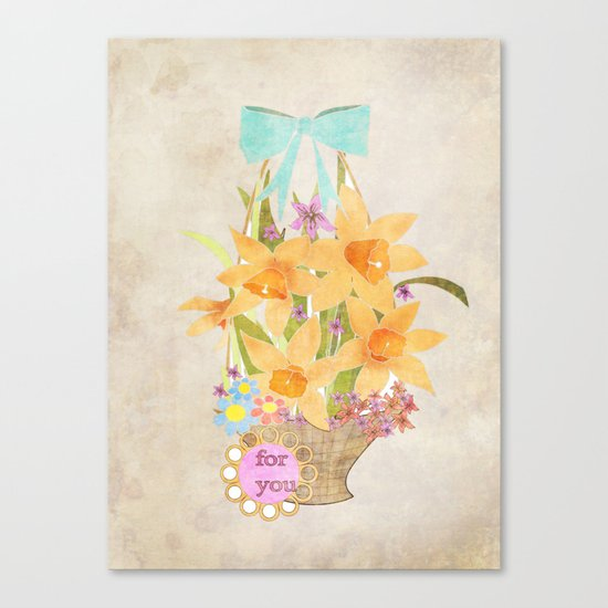 Basket with spring cveti . Retro . Vintage . Canvas Print