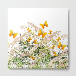 WHITE ART GARDEN ART OF YELLOW BUTTERFLIES Metal Print