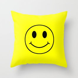 Smiley Happy in yellow color on a yellow background - EFS174 Throw Pillow