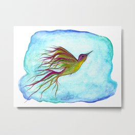 "Watercolor Hummingbird Illustration ""Free Spirit"" Metal Print"