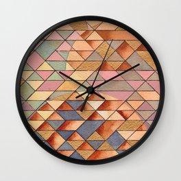 Triangles Circles Golden Sun Wall Clock