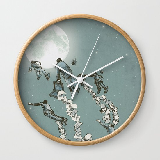 Flight of the Salary Men (color option) Wall Clock