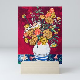 Marigold, Daisy and Wildflower Bouquet Fall Floral Still Life Painting on Eggplant Purple Mini Art Print