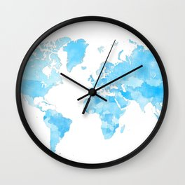 Distressed vintage world map in shades of blue Wall Clock