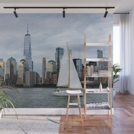 Sailing boat against skyline of New York Wall Mural