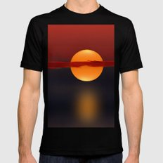 Sun on Red and Blue Mens Fitted Tee Black MEDIUM