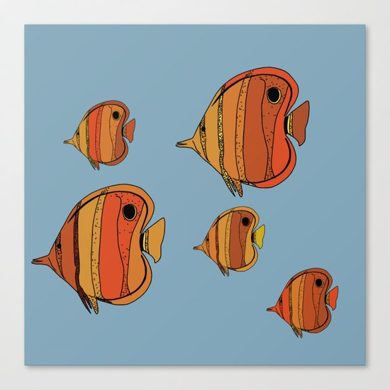 Orange Butterfly Fish Canvas Print