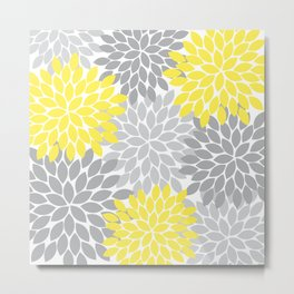 Yellow Gray Flower Burst Petals Floral Pattern Metal Print