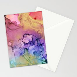 Colorful Abstract Ink Swirls with Gold Marble Stationery Cards
