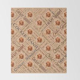 Cocker Spaniel Word Art Throw Blanket