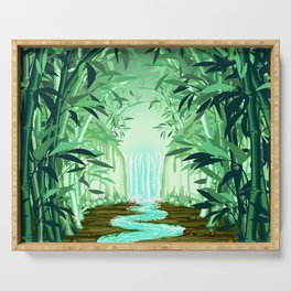 Fluorescent Waterfall on Surreal Bamboo Forest Serving Tray