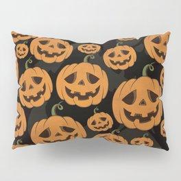 Jack O Lantern Halloween Pattern on Black Pillow Sham