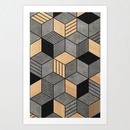 Concrete and Wood Cubes 2 Art Print