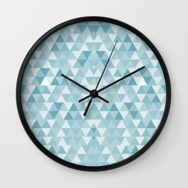 Triangle Pattern in Blue Shades Wall Clock