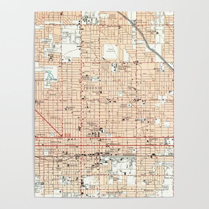 Map Of Just Arizona.Vintage Map Of Phoenix Arizona 1952 Poster By Bravuramedia