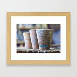 Three flower pots Framed Art Print