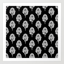 Linocut Protea flower printmaking pattern black and white floral Art Print