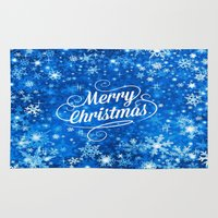 merry christmas Area & Throw Rugs featuring Merry Christmas  by Judy Palkimas
