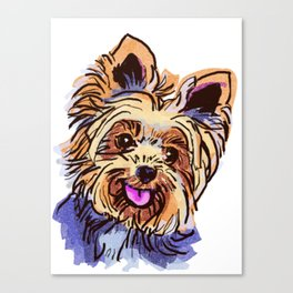 The cute smiley Yorkie love of my life! Canvas Print