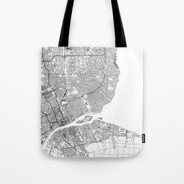 Detroit White Map Tote Bag
