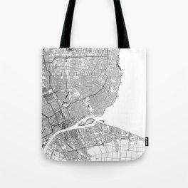 Detroit White Map Tote Bag