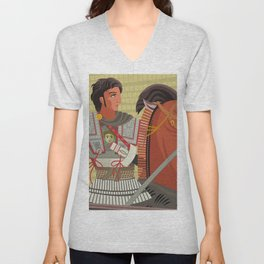 alexander the great mosaic riding a horse Unisex V-Neck