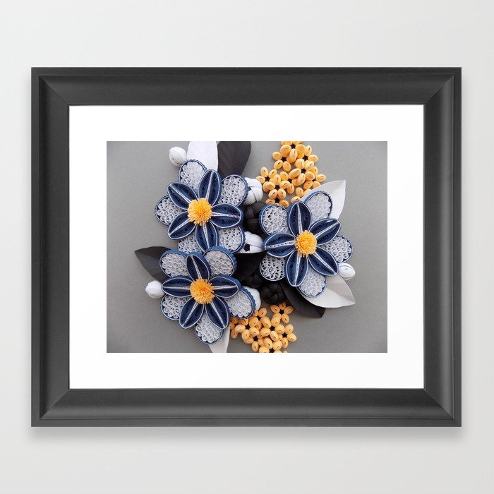 blue paper quilled flowers floral home decoration abstract still nature art framed art print