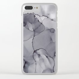 Alcohol Ink - Neutral Gray Clear iPhone Case