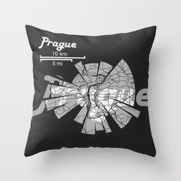Prague Map Throw Pillow