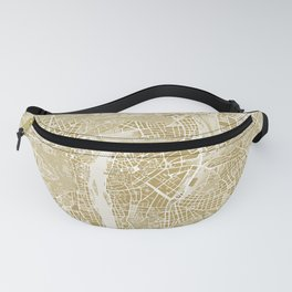 Prague map gold Fanny Pack